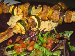 Lamb kebabs with yoghurty dressing