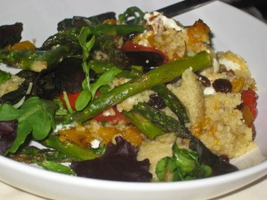 Feta, butternut and asparagus couscous