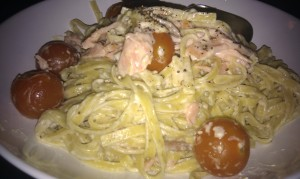 Lemon pepper pasta with smoked salmon