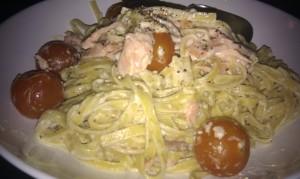 Lemon pepper pasta with smoked salmon
