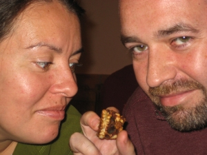 Mish and Dan survey the fried chicken nervously