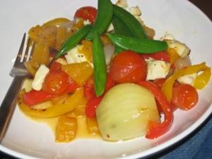 Halloumi, elephant garlic and roast bits