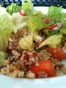 Quinoa, cranberry and goats cheese salad