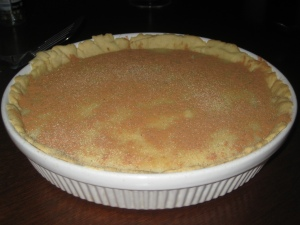 Milk tart with cinnamon