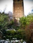 Cabot Tower above frozen waterfalls