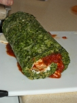 Spinach roulade with tomato and mozzarella
