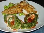 Spinach roulade with cajun cod & soya beans