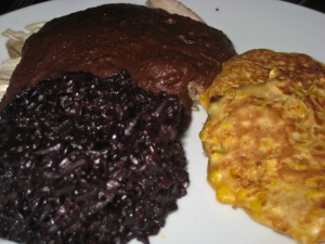 Chicken mole, black rice and sweetcorn fritters