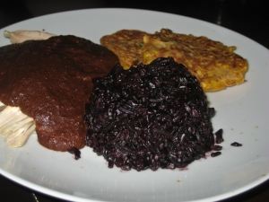 Chicken mole, black rice & sweetcorn fritters