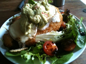 Chicken in Breadcrumbs with goats cheese & guacamole