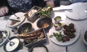 Dinner at Dishoom - the stacked table