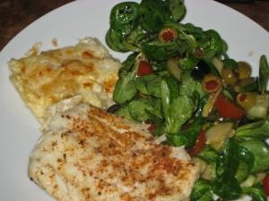 Cajun cod, celeriac gratin & salad