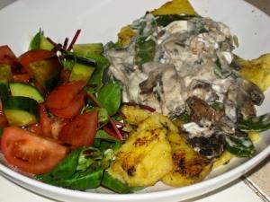 Creamy mushroom sauce over polenta