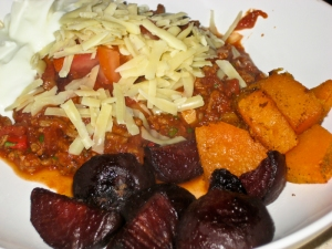 Chilli and roasted roots