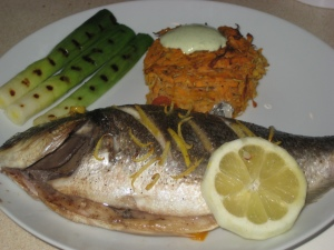 Sea bream and griddled leeks and sweet potato rost