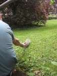 Simon feeds the squirrels