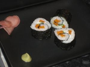 sweet potato and cream cheese sushi