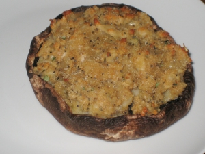Tarragon, Parmesan and cheddar stuffed mushrooms