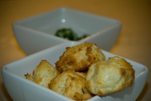 Gougeres with chived goats cheese