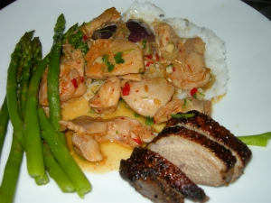 Lemongrass chilli chicken, tea smoked duck and asparagus, with jasmine rice