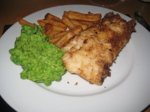 Heston Fish & chips & mushy peas