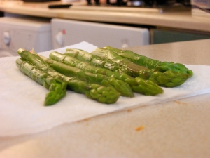 Blanched and iced asparagus