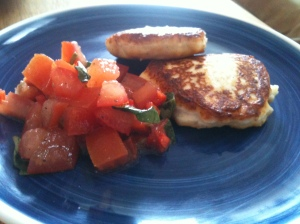 Ricotta cakes with tomato and chilli salad