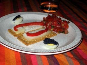 Ready steady - Manchego, quails eggs, lumpfish caviar and tomato /chilli salad