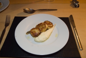 Scallops with cauliflower puree and basil oil