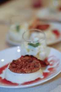 White chocolate and coconut panna cotta, orange and macadamia praline disc, white chocolate granita, Pinot Noir and orange sauce and a pineapple crisp