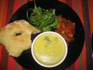 Fougasse, parfait, chutney and salad garnish
