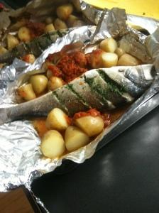 Stuffed seabass