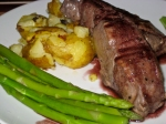 Venison cutlet, smashes garlic new potatoes, asparagus