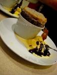 Black cherry souffle, clotted cream ice cream, dark choc sauce and sugar snaps.