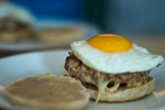 A McMuffin - sausagemeat, egg and cheese in a homemade english muffin