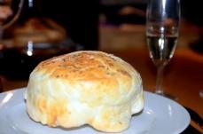 Jerusalem artichoke soup and pastry topping
