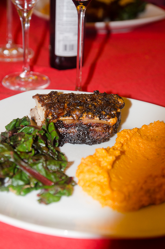 Roast spiced pork, sweet potato puree and lemony chard