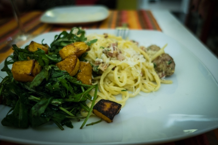 sausage carbonara and rocket & butternut salad