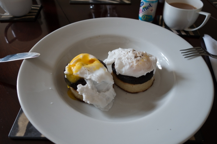 Poached duck eggs, black pudding & crumpets