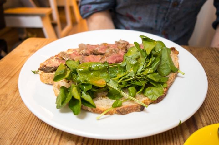 The steak sandwich on sourdough