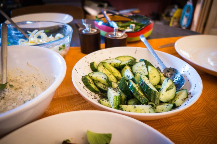 Spicy pickled cucumbers with poppy seeds