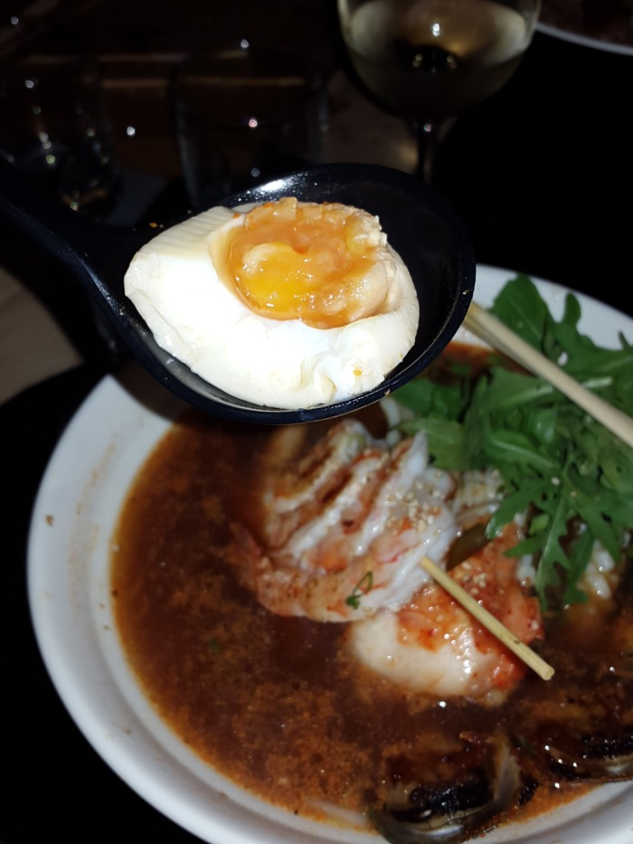 Ramen with perfect egg and seafood and kimchee