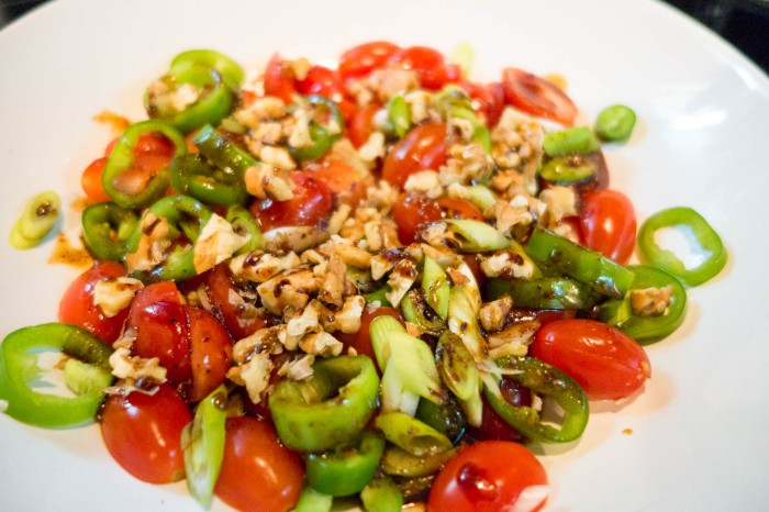 Tomato salad with walnuts and grape molasses